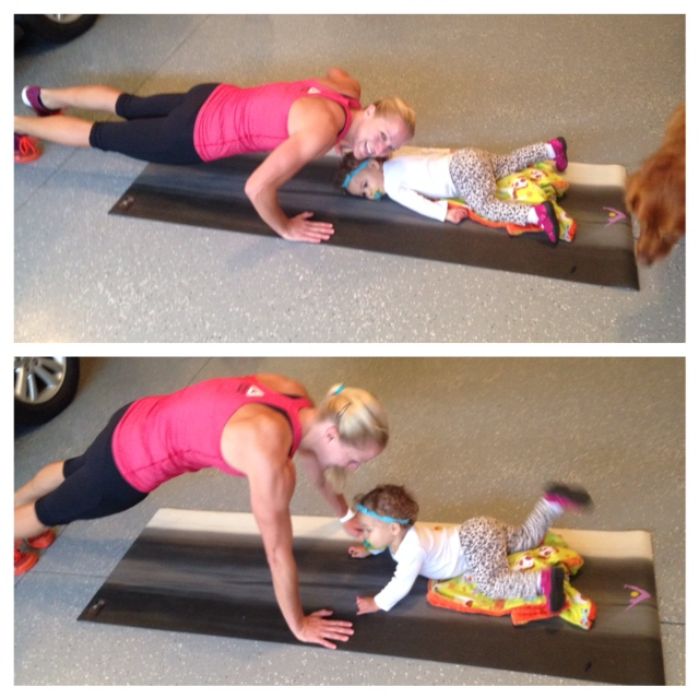 Push-ups with kids