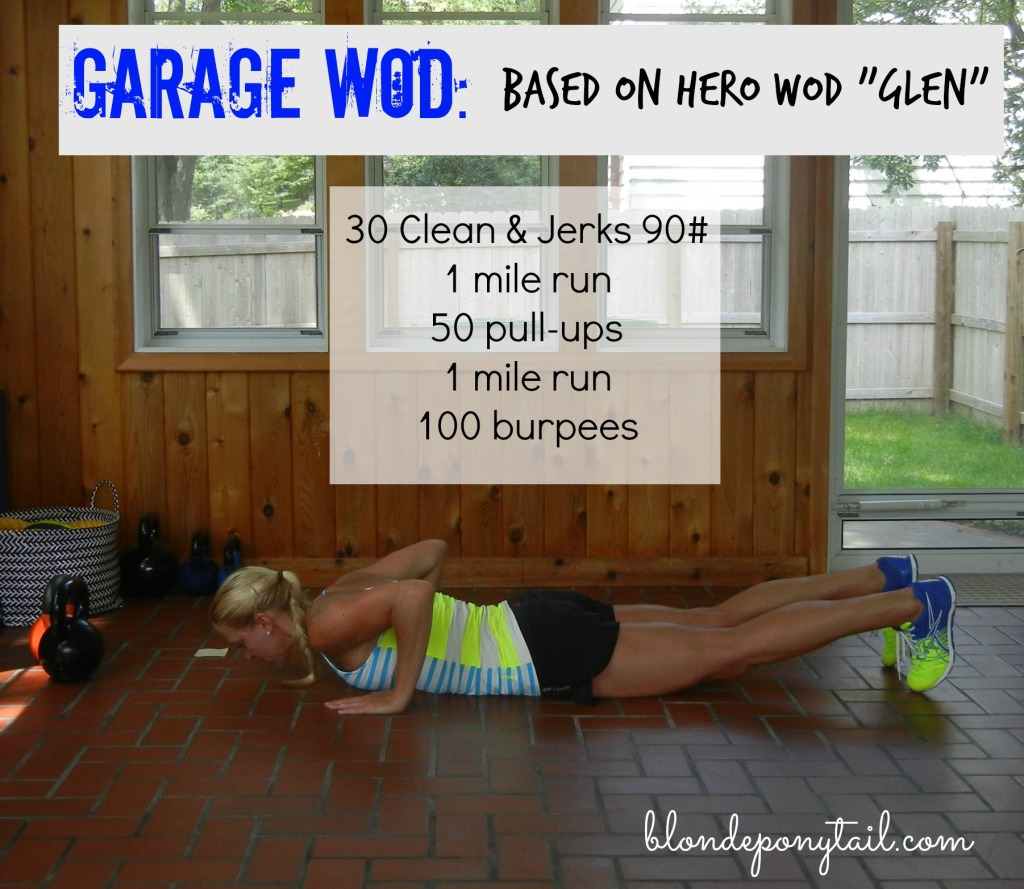 Garage workout for a hero blonde ponytail